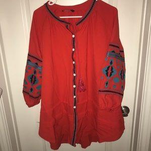 Red aztec sleeve dress
